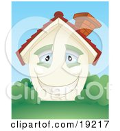 Clipart Illustration Of A Smiling Happy Blue Eyed Home With A Brick Chimney And Green Shutters Surrounded By Lush Green Grass And Bushes