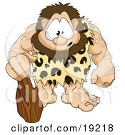 Clipart Illustration Of A Hairy Muscular Prehistoric Caveman Wearing A Leopard Print Cloth And Leaning On A Club With A Cute Facial Expression by AtStockIllustration