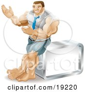 Clipart Illustration Of A Muscular Body Builder Businessman Bulging Out Of His Clothes And Gesturing With His Hands While Leaning Against A Cube
