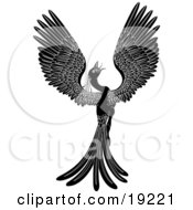 Clipart Illustration Of A Majestic Black Phoenix Fantasy Bird Opening Its Wings