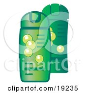 Green Bottles Of Shampoo And Conditioner For Hair