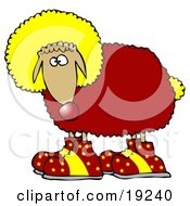 Clipart Illustration Of A Funny Sheep Clown Wearing A Yellow Wig Red Wool Yellow Tail And Red Shoes With Yellow Stars On Them