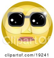 Clipart Illustration Of A Celebrity Yellow Smiley Face Wearing Dark Shades Over Its Eyes