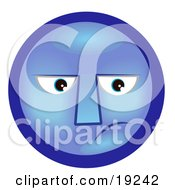 Clipart Illustration Of A Depressed Blue Smiley Face Feeling Melancholy