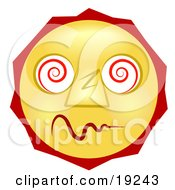 Clipart Illustration Of A Dazed And Confused Yellow Smiley Face High On Drugs