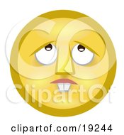 Clipart Illustration Of A Confused Yellow Smiley Face With Buck Teeth Lost In Thought Looking Upwards