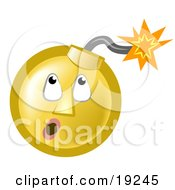 Clipart Illustration Of A Ticking Time Bomb Smiley Face Looking Up At The Fuse by AtStockIllustration