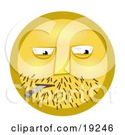 Clipart Illustration Of A Yellow Smiley Face Guy With Stubble And Bloodshot Eyes Getting High Off Of A Doobie