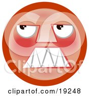 Clipart Illustration Of An Angry Red Smiley Face Looking Upwards