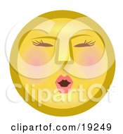 Clipart Illustration Of A Modest Female Yellow Smiley Face Blushing by AtStockIllustration