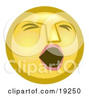 Clipart Illustration Of A Tired Yellow Smiley Face Opening Its Mouth To Yawn by AtStockIllustration