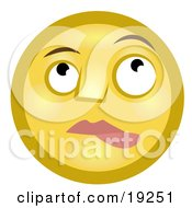 Nervous Lip Biting Yellow Smiley Face Nibbling Its Lower Lip And Looking Upwards