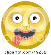 Clipart Illustration Of An Infatuated Yellow Smiley Face Hanging Its Tongue Out And Drooling Over A Pretty Smiley