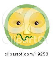 Clipart Illustration Of A Very Shy Green And Yellow Smiley Face Worrying