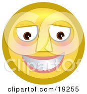 Clipart Illustration Of A Slightly Flushed Blushing Yellow Smiley Face Smiling After Receiving A Flirty Comment
