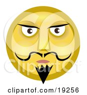 Clipart Illustration Of A Stern Yellow Smiley Face Man With A Goatee Mustache And Dark Eyebrows