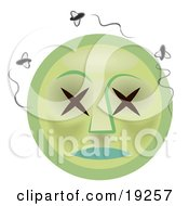Clipart Illustration Of A Stinky Dead Green Rotten Smiley Face With Xs For Eyes Surrounded By Swarming Flies by AtStockIllustration
