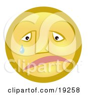 Clipart Illustration Of A Sad Yellow Smiley Face Pouting And Crying