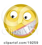 Clipart Illustration Of A Flirty Yellow Smiley Face Grinning And Showing Its Pearly Whites