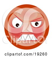 Clipart Illustration Of A Mad Red Faced Smiley Clenching Its Teeth