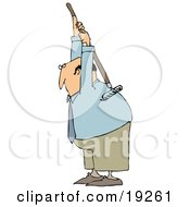 Clipart Illustration Of A Bald White Businessman Scratching An Itch On His Back With A Garden Rake