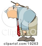 Clipart Illustration Of A Bald White Businessman Bending Over And Scratching An Itch On His Back With A Back Scratcher