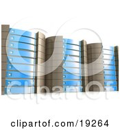 Clipart Illustration Of Blue Server Racks Hosting Services To Customers
