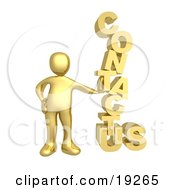 Clipart Illustration Of A Gold Person Leaning Against A Stacked Contact Us Icon For A Website Contact Form
