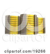 Clipart Illustration Of Three Yellow Server Towers Hosting Services To Customers