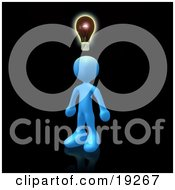 Clipart Illustration Of A Creative Blue Person On Black Conjuring Up Another Idea
