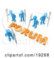 Clipart Illustration Of A Group Of Blue People Holding Their Own Pens Writing In A Group Forum