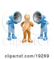 Clipart Illustration Of Two Blue Megaphone Headed People Shouting At An Orange Person Trying To Influence His Beliefs by 3poD #COLLC19269-0033