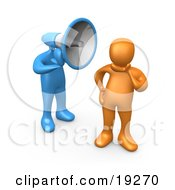 Clipart Illustration Of An Ignorant Orange Person In Thought Chosing Not To Believe Or Listen To What The Blue Megaphone Headed Person Is Yelling