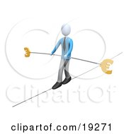 Business Man In Blue Walking On A Tightrope With A Bar And Two Euro Signs