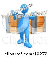 Clipart Illustration Of A Blue Person Holding Words Reading Information Technology And Standing In Front Of Orange And Silver Server Racks