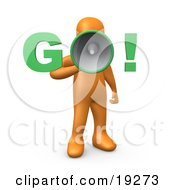 Clipart Illustration Of An Orange Person Screaming Go Through A Loud Megaphone Symbolizing The Start Of Something A Race Or Job Hunting