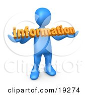 Blue Person Carrying Orange Text Reading Information