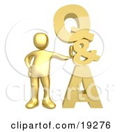 Clipart Illustration Of A Gold Person Leaning Against A Stacked Questions And Answers Icon by 3poD #COLLC19276-0033