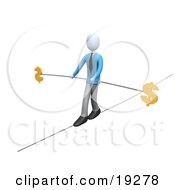 Businessman Walking And Balancing On A Tightrope With A Bar And Two Dollar Signs