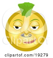 Clipart Illustration Of A Cool Punk Yellow Smiley Face Sporting A Green Mohawk And A Safety Pin Nose Piercing