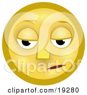 Clipart Illustration Of A Gloomy Yellow Smiley Face Pouting