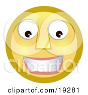 Clipart Illustration Of A Friendly Smiling Yellow Smiley Face