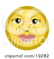 Pretty Female Freckle Faced Yellow Smiley With Green Eyes