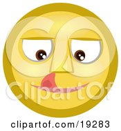 Clipart Illustration Of A Craving Yellow Smiley Face Licking Its Lips