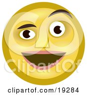 Clipart Illustration Of A Pleasantly Surprised Yellow Smiley Face Man Smiling And Raising One Eyebrow