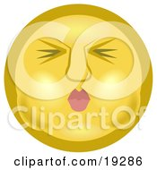 Clipart Illustration Of A Yellow Smiley Face Puckering Its Lips And Holding Its Breath In Its Cheeks