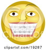Clipart Illustration Of A Metal Mouth Yellow Smiley Face Showing Its Braces On Its Teeth