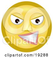 Clipart Illustration Of A Meany Yellow Smiley Face Grinning At A Victim Of Bullying
