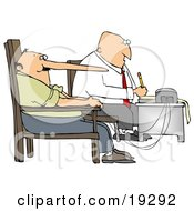 Clipart Illustration Of A White Polygraph Examiner Guy Seated In Front Of A Machine While Interrogating A Lying Man Whos Nose Keeps Growing Like Pinocchio With Every Fib He Tells During A Lie Detector Test by djart