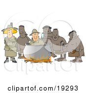 Clipart Illustration Of A White Couple A Man And Women American Tourists Caught By Native Cannibals In A Foreign Country With The Man Being Cooked In The Bot And The Woman Tied To A Pole